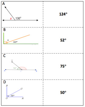 Missing Angles in Complementary/Supplementary Angles Memory Match Game