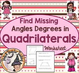 Find Missing Angles Degrees in Quadrilaterals Practice Worksheet Homework