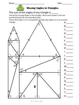 Missing Angles in Triangles- Triangles Angle Sum Theorem