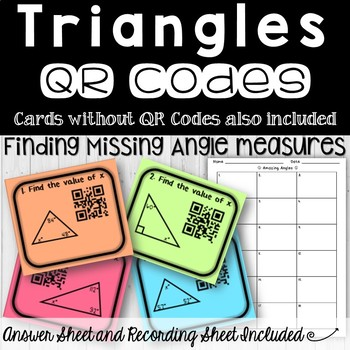 Missing Angles in Triangles Task Cards (with and without)