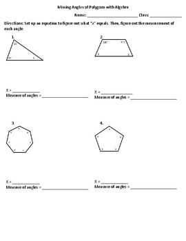Missing Angles of Polygons with Algebra