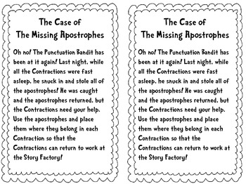 Missing Apostrophes Contractions Task Cards