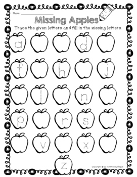 Letter Writing Practice- Missing Apples In the Alphabet