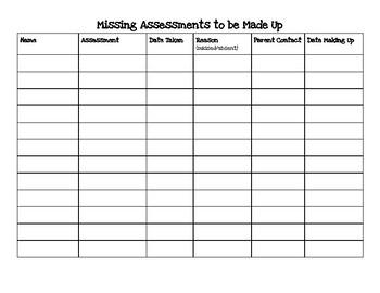Missing Assessment Log