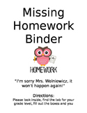 Missing Assignment Binder Cover Page
