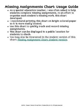 Missing Assignment Chart: Teacher Version