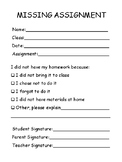 Missing Assignment Form (Basic)