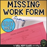 Missing Homework Form EDITABLE