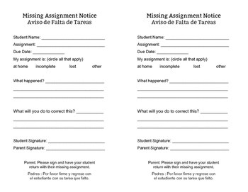 Missing Assignment Form - Eng/Spanish