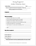 Missing Assignment Form for Classroom Management