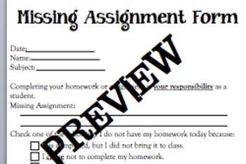 missing assignment form middle school