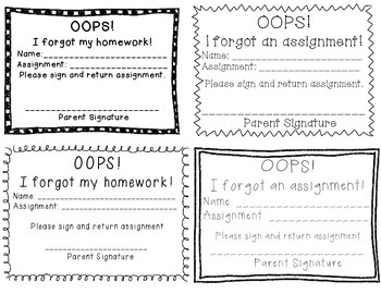 Missing Assignment Notes and Log