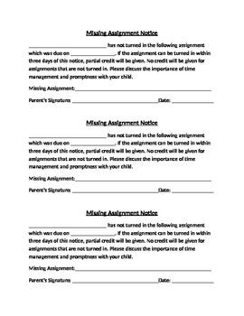 Missing Assignment Notice