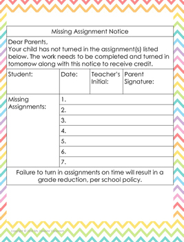 Missing Assignment Notice to Parents