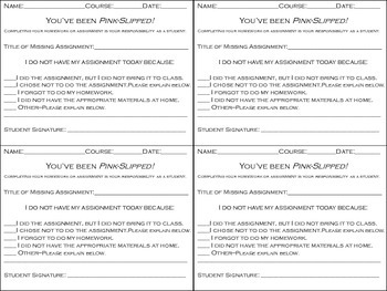 Wong's Missing Assignment Pink Slip