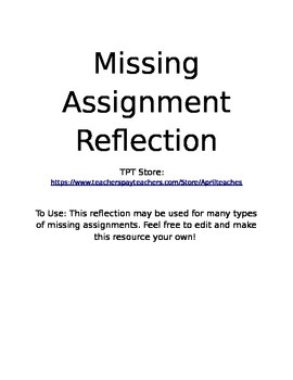 Missing Assignment Reflection Freebie