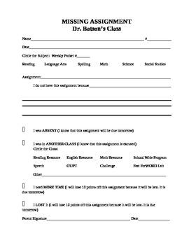 Missing Assignment Sheet