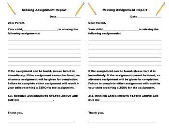 Missing Assignment Slip