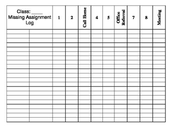 Missing Assignments Log
