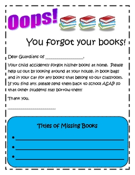 Missing Books Letter