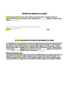 Missing Children Reporting Form