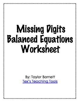 Missing Digit Balancing Equations WS