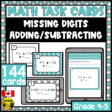 Missing Digits Addition and Subtraction | Paper or Digital Task Cards