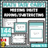 Missing Digits Task Cards Grades 4-5