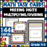Missing Digits Task Cards Grades 4-5