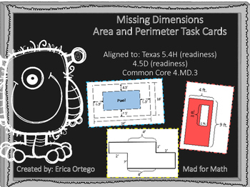 NEW! Missing Dimensions Area and Perimeter Task Cards 5.4H, 4.5D, 4.MD.A.3