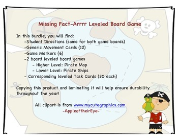 Missing Fact-ARRRRR Game (CCSS Aligned)