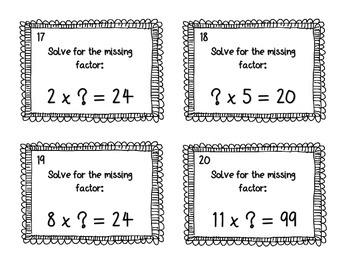 Missing Factor Multiplication Task Cards SCOOT