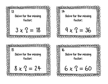 Missing Factor Multiplication Task Cards SCOOT
