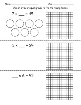 Missing Factor Worksheets (using arrays and equal groups)