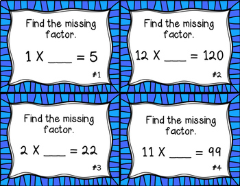 Missing Factors Task Cards/ Scoot Activity