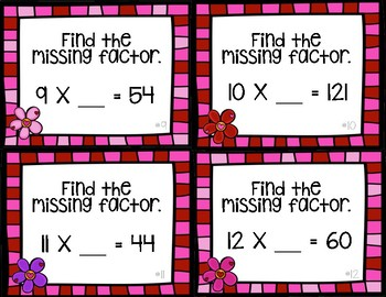 Valentine Missing Factors (Numbers 0-12) Task Cards