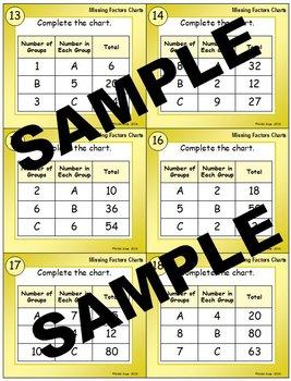 Missing Factors Charts Multiplication Task Cards