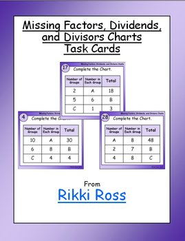 Missing Factors, Dividends, and Divisors Charts Task Cards