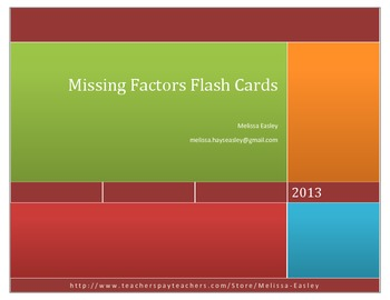 Missing Factors Flash Cards