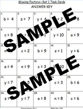 Missing Factors Multiplication Task Cards (Set 1)