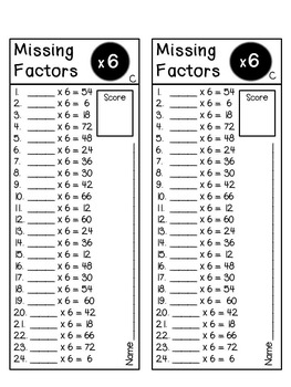 Missing Factors - Multiplication Timed Tests