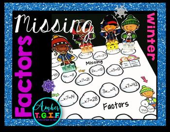Missing Factors Multiplication Winter Theme