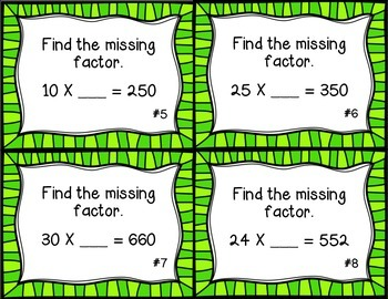 Missing Two Digit Factors Task Cards/ Scoot Activity