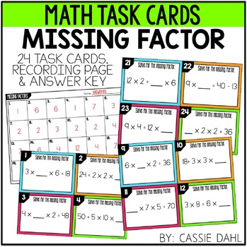 Missing Factors Task Cards