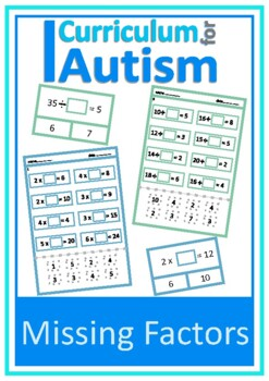 Missing Factors Times Tables Facts Multiply Divide, Autism, Special Education