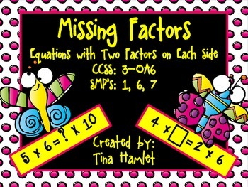 Missing Factors - Two Factors on Each Side SCOOT Activity 3-OA6
