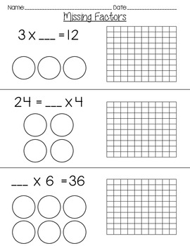 Missing Factors With Arrays And Equal Groups By Hall