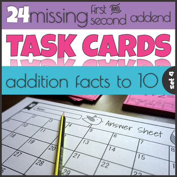 Missing First and Second Addend 1-10 Task Cards Mastering Math Facts
