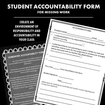 Missing Work Accountability Form for Reflective Learning FREEBIE