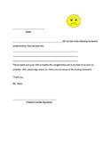Missing Homework Assignment Parent Sheet